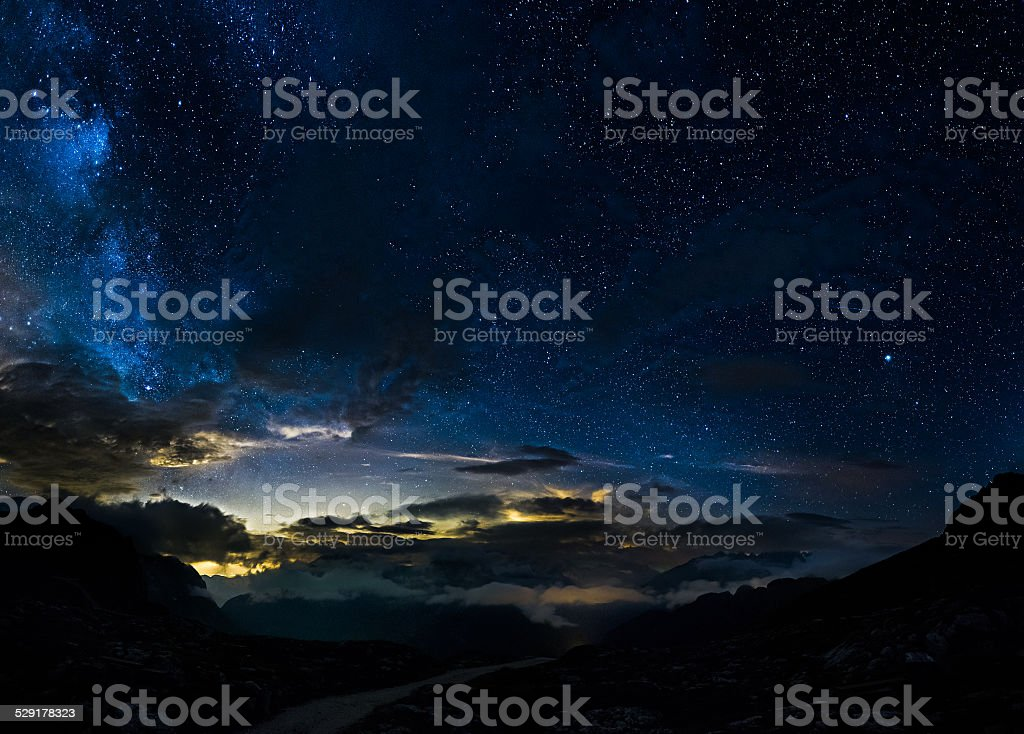 Deep sky in mountains stock photo
