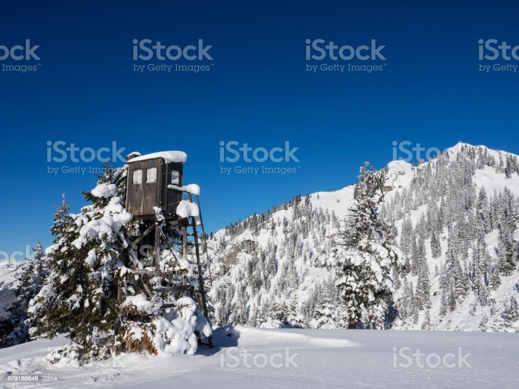 Deep snow in the mountains stock photo