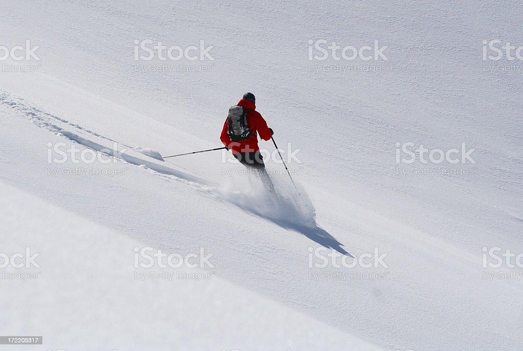 deep snow skiing royalty-free stock photo