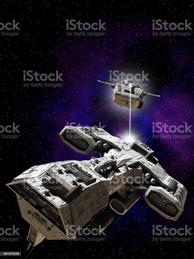 Deep Space Battle stock photo