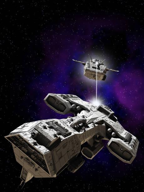 bataille de l'espace lointain - vaisseau spatial photos et images de collection