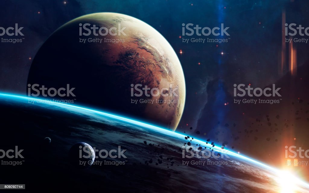Deep space beauty, planets, stars and galaxies in endless universe. Elements of this image furnished by NASA stock photo