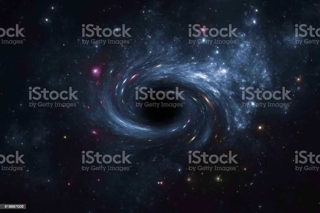Deep space star field with black hole. stock photo