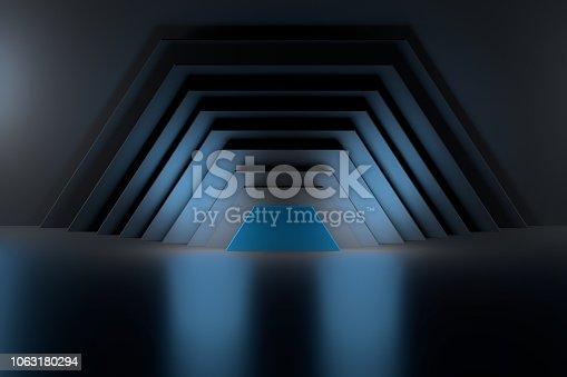 istock Deep space with halves of hexagons. 1063180294