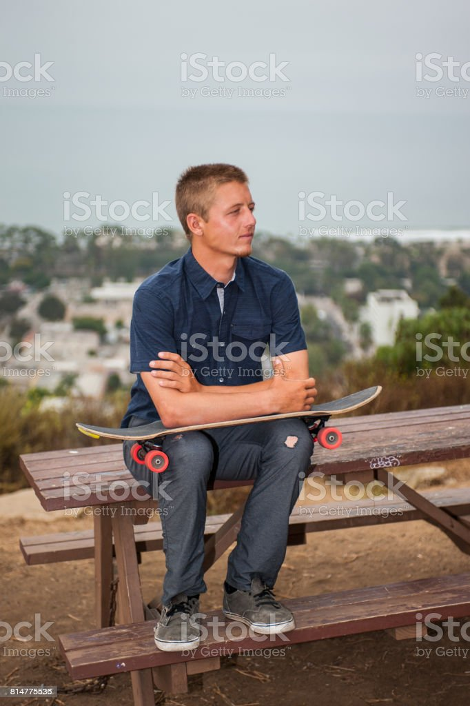Deep thoughts in high places stock photo
