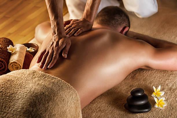 Deep tissue massage. stock photo