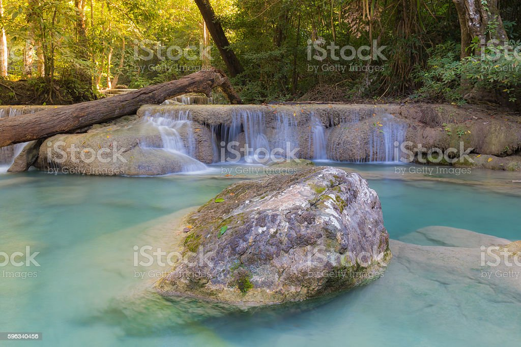 Deep tropical blue stream waterfalls royalty-free stock photo