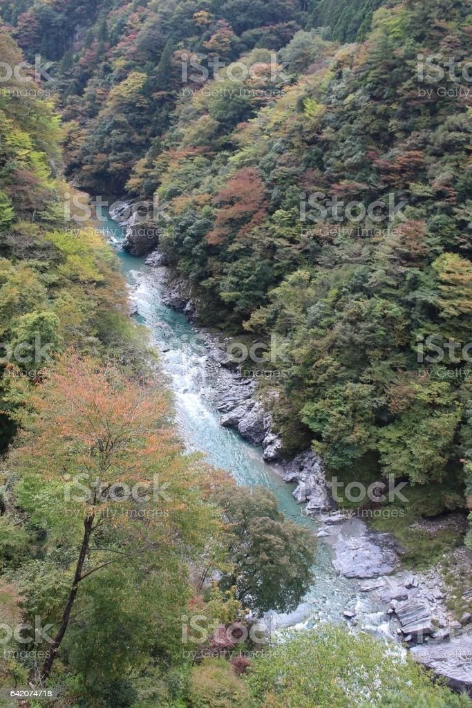 deep valley in Japanes coutry side stock photo