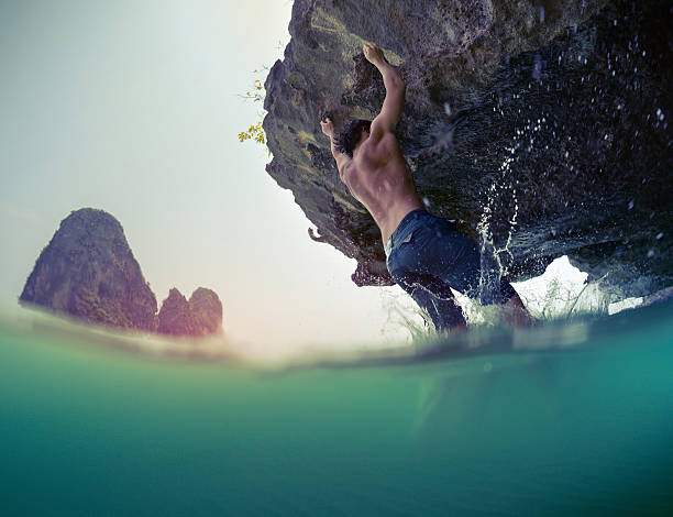 Deep water soloing stock photo