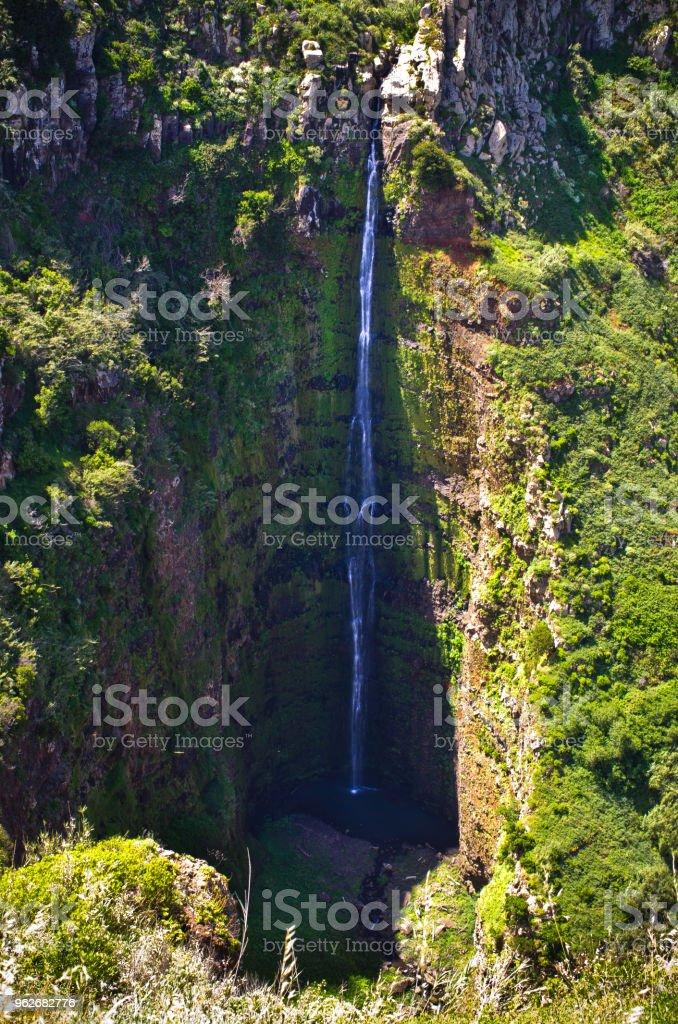 Deep waterfall near Ponta do Pargo, Madeira, Portugal stock photo