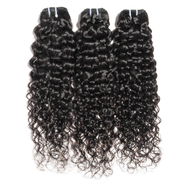 deep wave curly wet black human hair weaves extensions bundles curly human hair weft bundle stock pictures, royalty-free photos & images