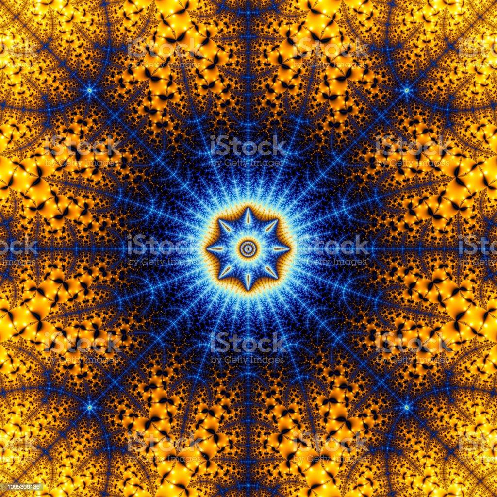 Deep zoom fractal pattern million trillion magnification stock photo