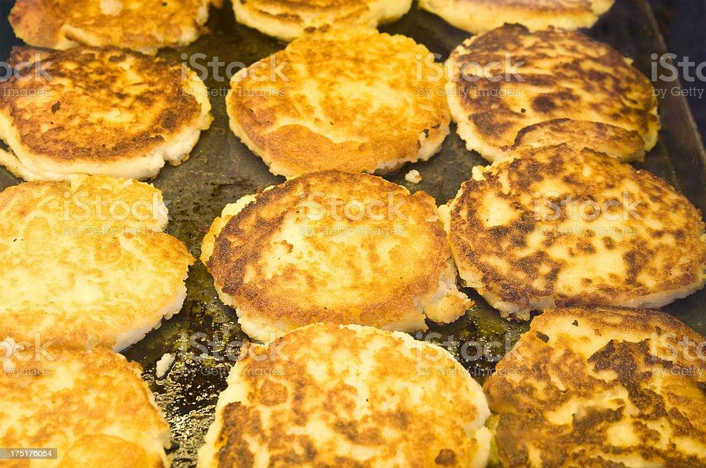 Deep-fried potato cakes stock photo