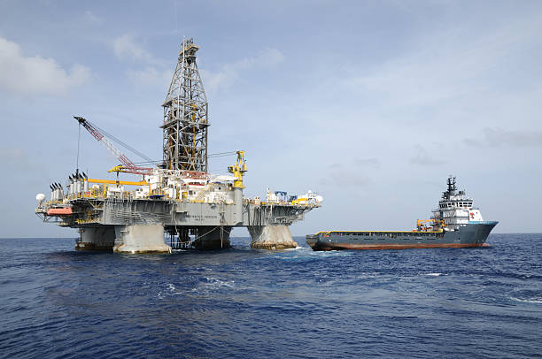 """Deepwater Horizon"" offshore oil rig and Tidewater supply vessel"