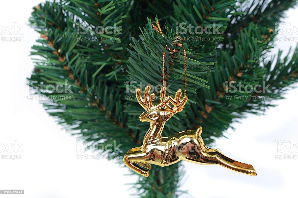 deer christmas tree on white background 2 stock photo