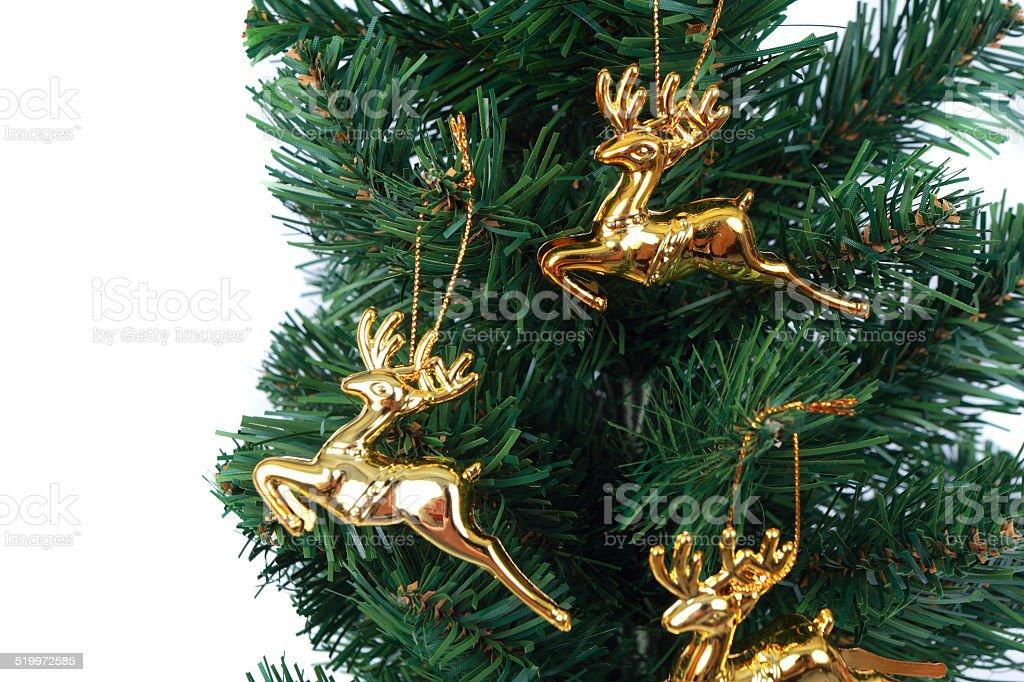 deer christmas tree on white background 3 stock photo