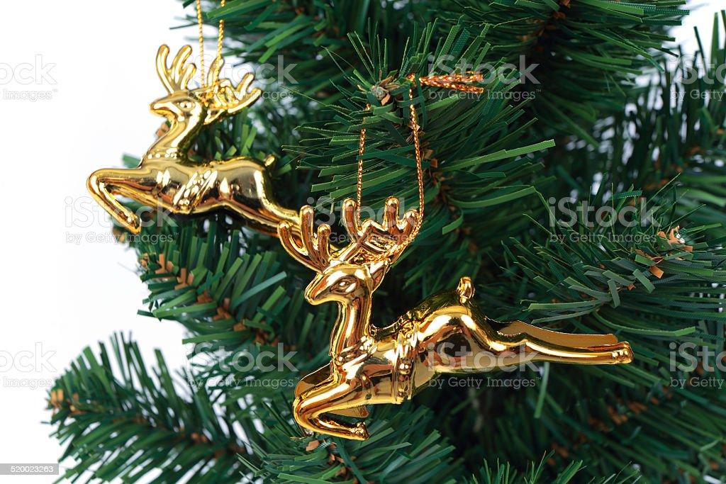 deer christmas tree on white background 7 stock photo