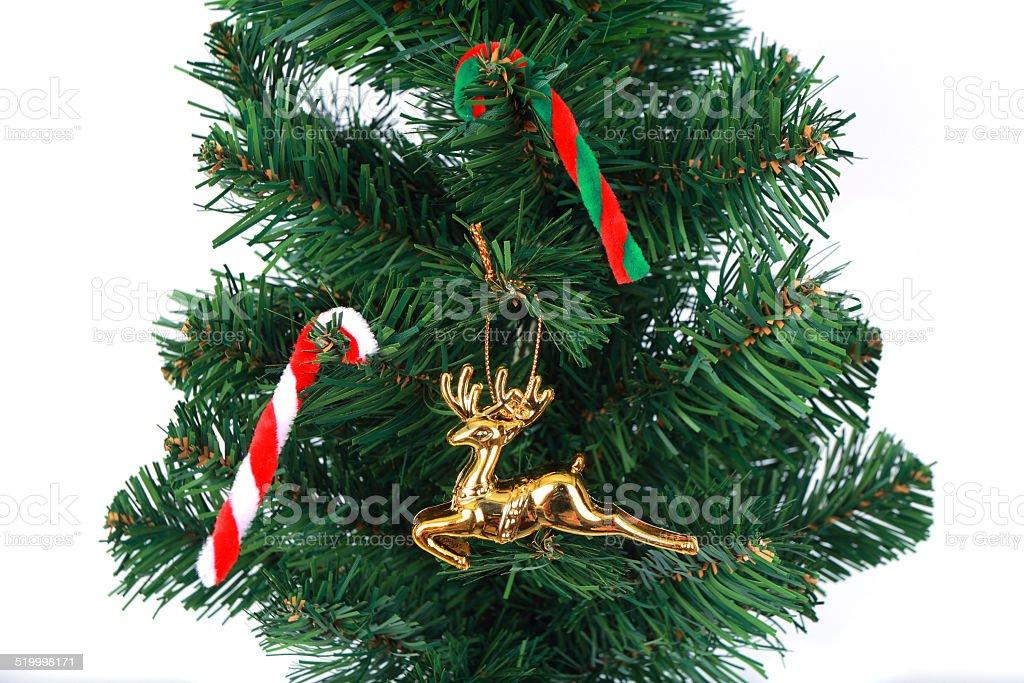 deer christmas tree on white background 8 stock photo