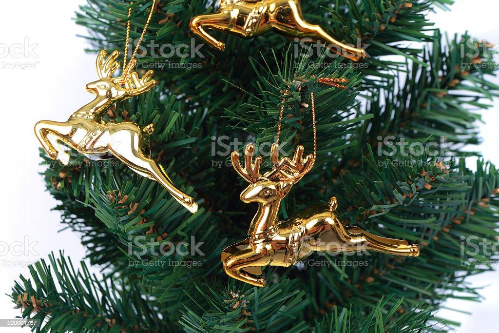 deer christmas tree on white background stock photo