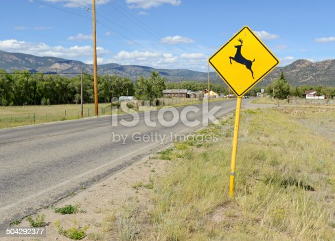istock Deer crossing warning sign on road 504292377