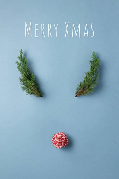 hirsch gesicht weihnachtskarte. - weihnachtsessen ideen stock-fotos und bilder