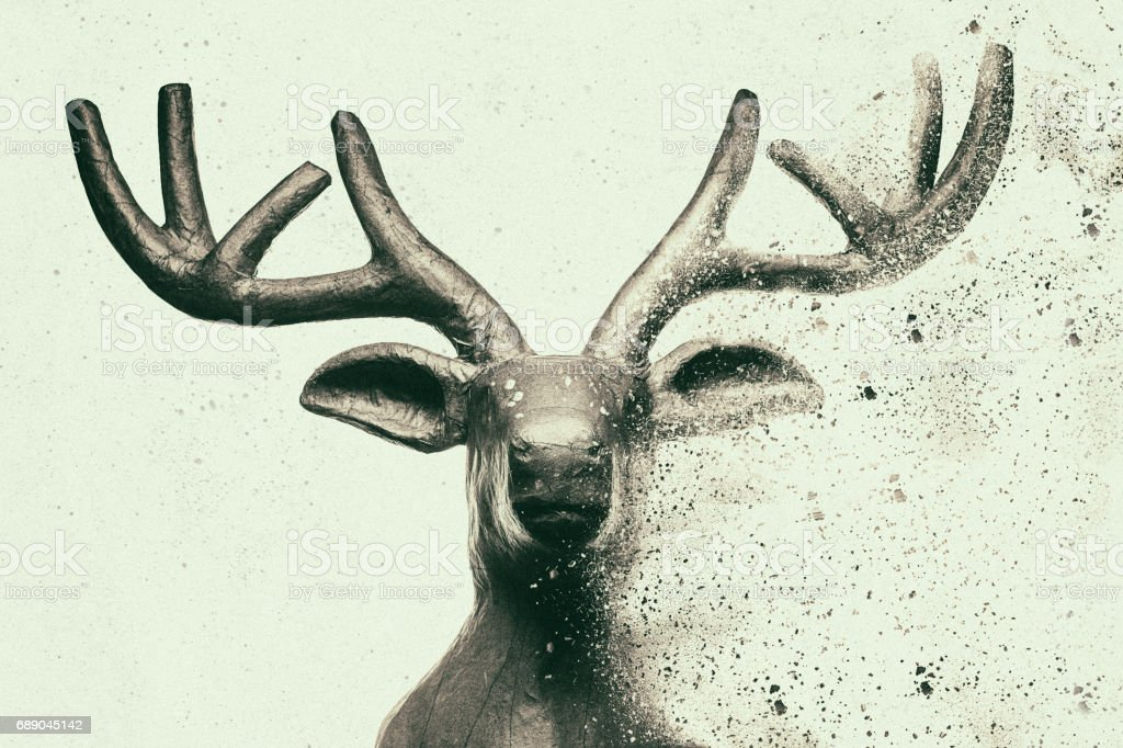 Deer head with dispersion effect stock photo