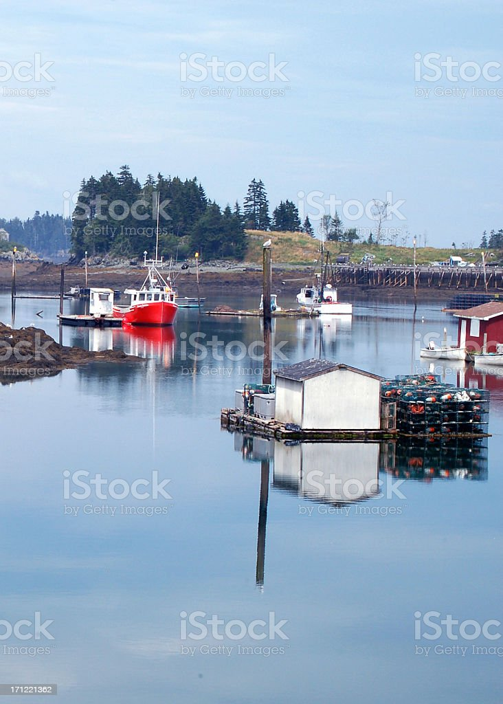 Deer Island Barge and Boats Reflection royalty-free stock photo