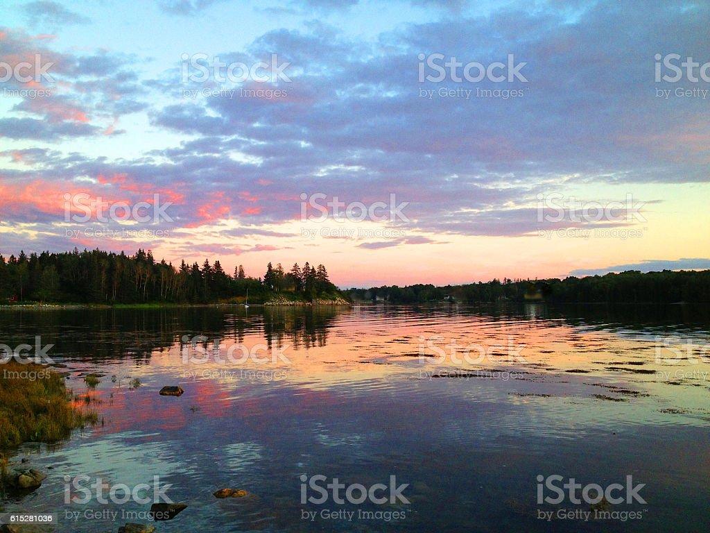 Deer Isle, Maine Sunset stock photo