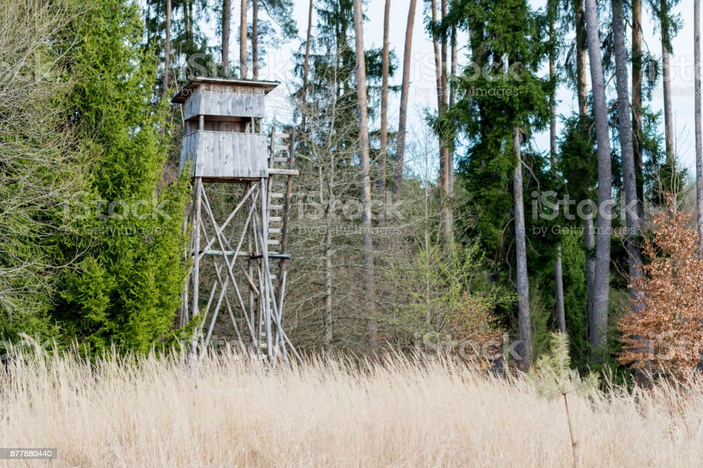 A deer stand in front of a meadow in the Natural Reserve schoenbuch in Germany stock photo