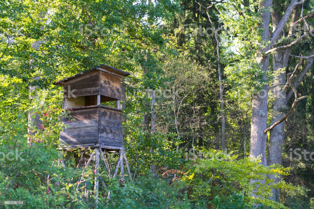 Deer Stand in the natural Reserve Schoenbuch forrest in Germany stock photo