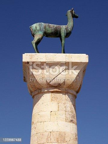 istock Deer statue in Mandraki Harbour, Rhodes, Greece 1223567433