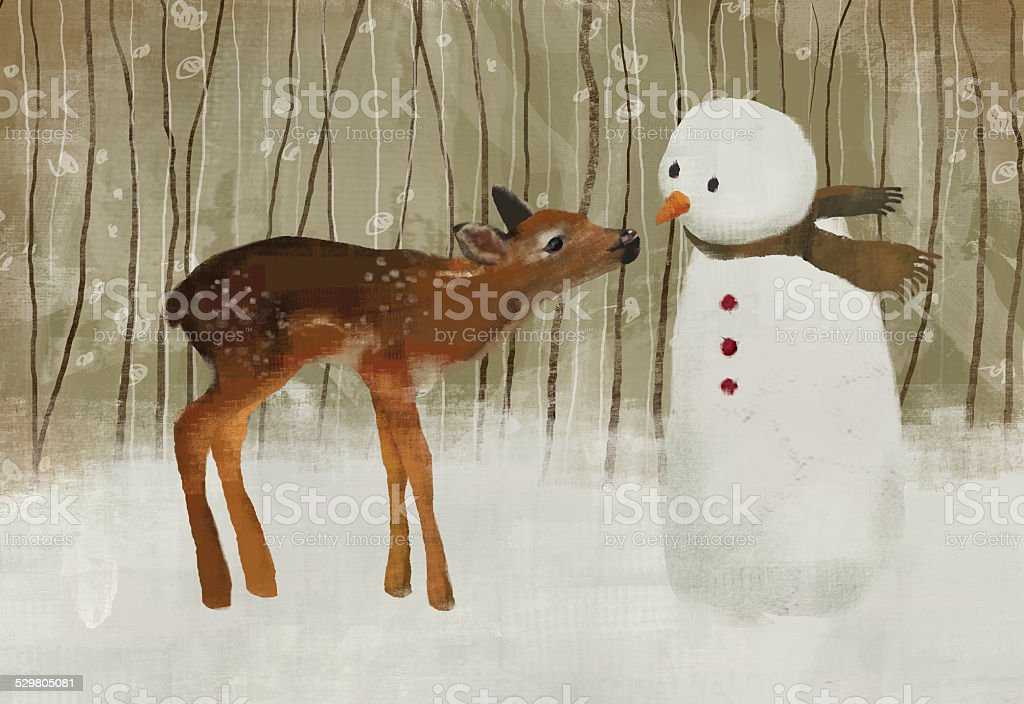 Deer With Snowman stock photo