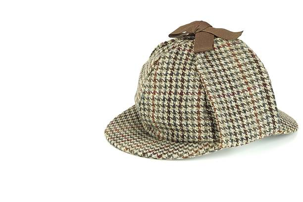 Deerstalker Cap Isolated On White Background Close-up of  Deerstalker Cap Isolated Isolated On White Background. deerstalker hat stock pictures, royalty-free photos & images