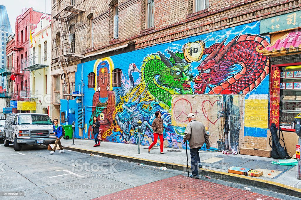 Defaced Wall Art In San Francisco Chinatown Stock Photo Download Image Now Istock