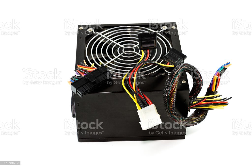 Defect Computer Power Supply stock photo