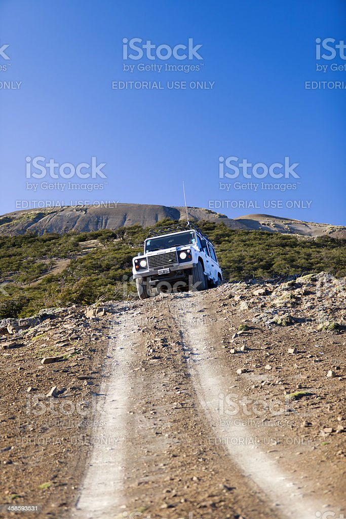 Defender Landrover with tourists on safari in Patagonia Argentina royalty-free stock photo