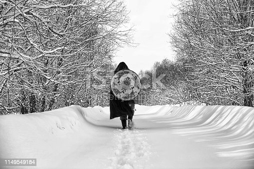 istock Defender the young warrior in armor 1149549184