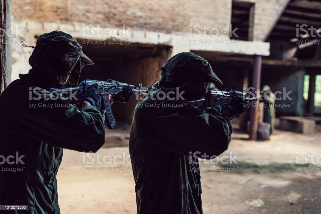 Defending freedom and country borders from terrorism in Middle East stock photo