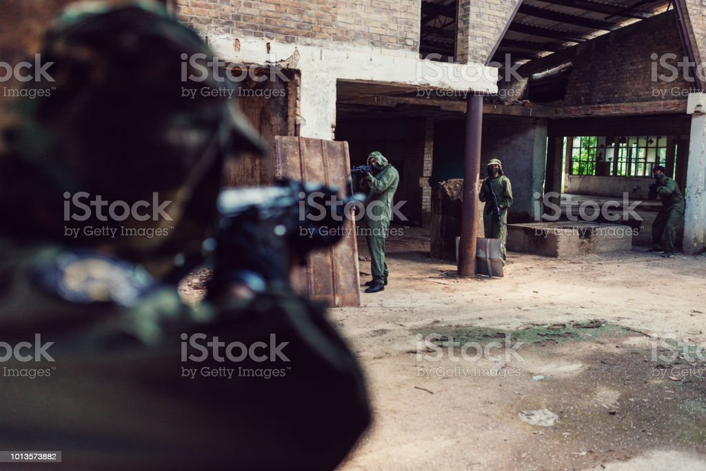 Defending freedom and country borders from terrorism stock photo