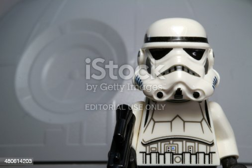 Vancouver, Canada - July 25, 2012: A toy Lego stormtrooper  from the Star Wars film franchise, posed against the Death Star