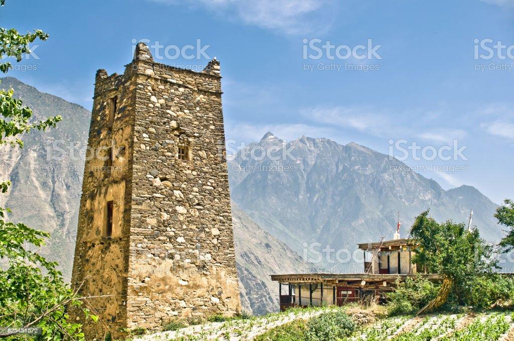 Defense tower of danba village zhonglu in China stock photo
