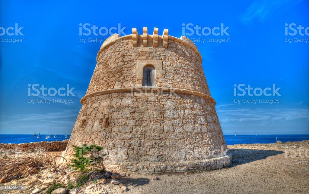 defense tower of 'la gavina' (Can Marroig) in Formentera. stock photo