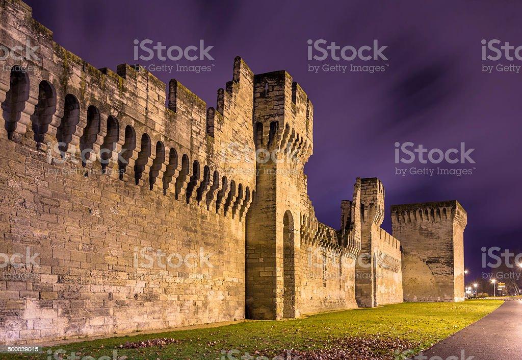 Defensive walls of Avignon, a UNESCO heritage site in France stock photo