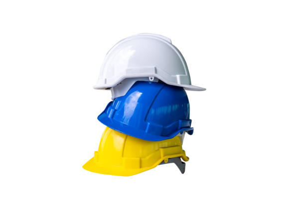 3 deferential helmet, yellow, blue and white safe worker construction tools for industrial safety isolated on white background 3 deferential helmet, yellow, blue and white safe worker construction tools for industrial safety isolated on white background deferential stock pictures, royalty-free photos & images
