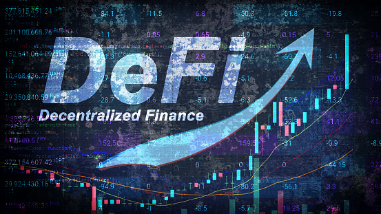 DeFi is a decentralized finance that is gaining popularity and hype. Growth of the new finance sector with graph and arrow up. Defi Fintech concept. Horizontal.