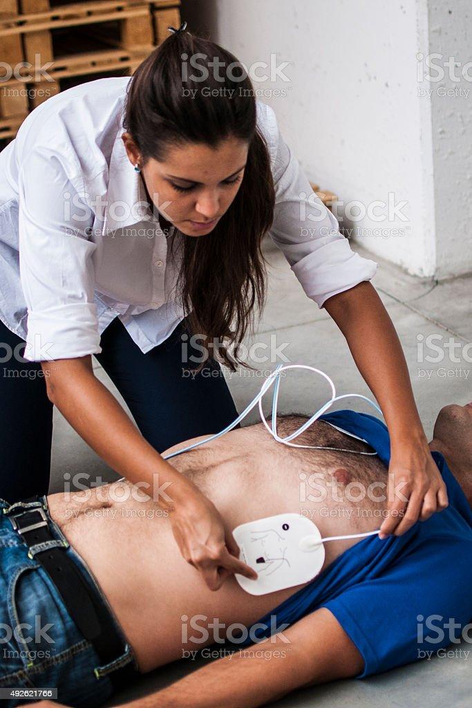 defibrillator electrodes stock photo