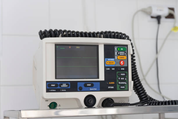 Defibrillator, medical equipment used in advanced life support in ICU in hospital. stock photo