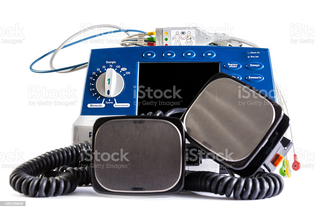 Defibrillator unit stock photo