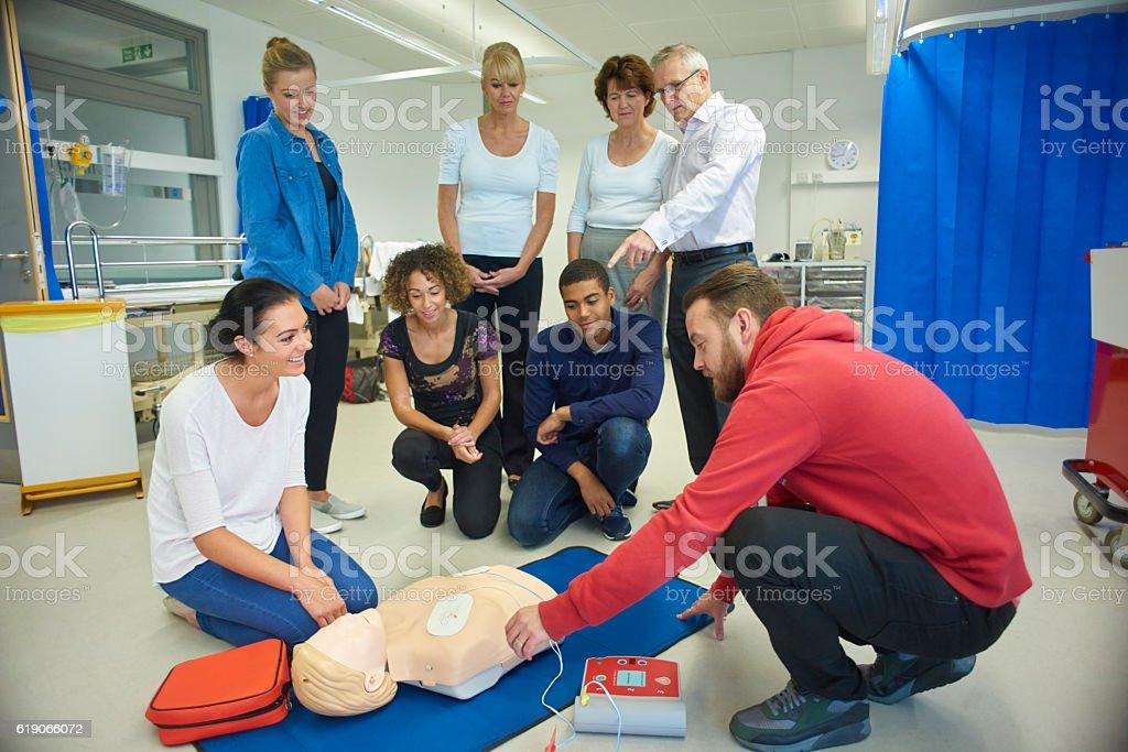 defibrulator training class stock photo