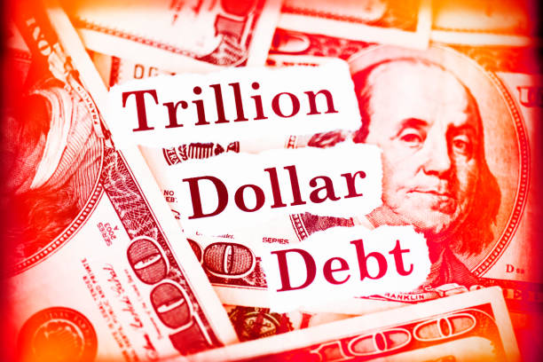 "US Deficit Hundred dollar bills with the words ""Trillion Dollar Debt."" bailout stock pictures, royalty-free photos & images"